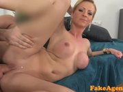 FakeAgent Horny blonde babe covered in Jizz